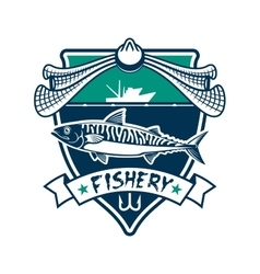 Fishery icon Fishing sport club sign vector image vector image