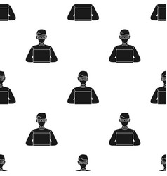 hacker icon in black style isolated on white vector image