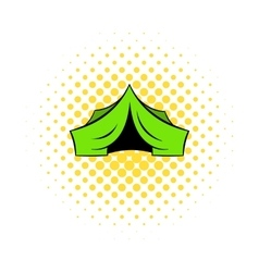 Hunting tent icon comics style vector image vector image
