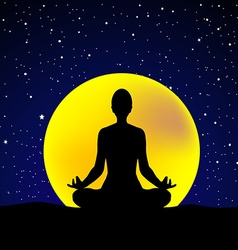 Silhouette of woman practicing yoga at night sky vector image