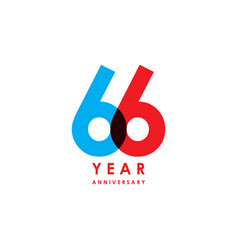 66 year anniversary template design vector