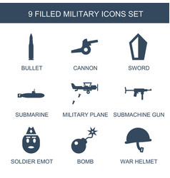9 military icons vector
