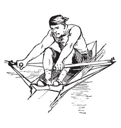 A man rowing boat vintage vector