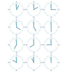 a set of mechanical clocks vector image