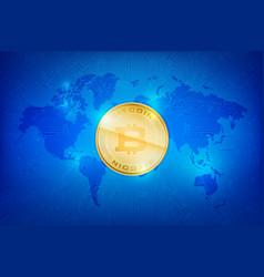 Abstract dark blue background bitcoin concept vector