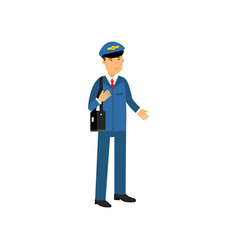 airline pilot in blue uniform standing with bag vector image