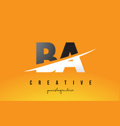 Ba b a letter modern logo design with yellow vector
