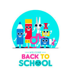 back to school fun art supplies friends design vector image