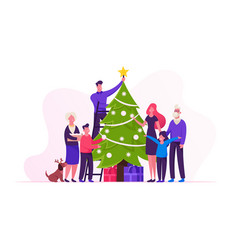 Big happy family decorate christmas tree together vector