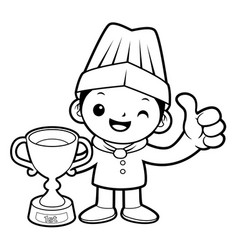 Black and white cartoon chef mascot awarded in vector