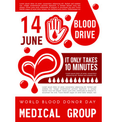 Blood donation poster world donor day card vector