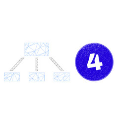 Blue scratched 4 stamp seal and web carcass vector