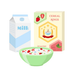 Breakfast set - milk cereal berries healthy food vector