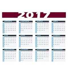 Calendar 2017 design template Week starts vector image