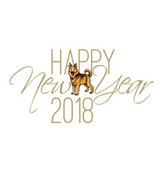 calligraphy inscription happy new year 2018 vector image