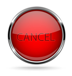 Cancel button round red button with chrome frame vector