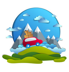 car travel and tourism red minivan with luggage vector image