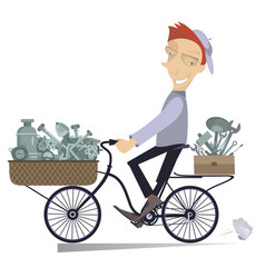 Cartoon mechanic rides on the bike vector