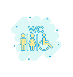 Cartoon wc toilet icon in comic style men and vector