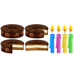 chocolate cake and candles vector image