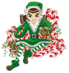 Christmas elf and a mountain of candy vector