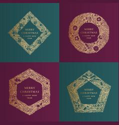 Christmas greetings banner templates set vector