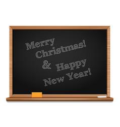 christmas greetings written on the blackboard vector image