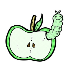 Comic cartoon apple with bug vector