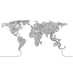 Continuous line drawing a world map vector