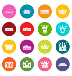 crown icons many colors set vector image