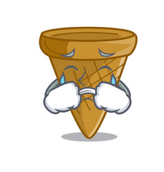 crying empty wafer cone for ice cream character vector image