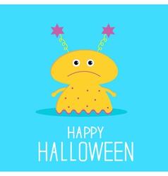 Cute cartoon yellow monster girl Halloween card vector