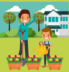 Dad and son watering the potted flowers gardening vector