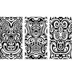 Decorative ornaments with tribal elements vector