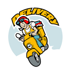 Delivery man on scooter cartoon vector