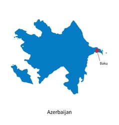 Detailed map of Azerbaijan and capital city Baku vector