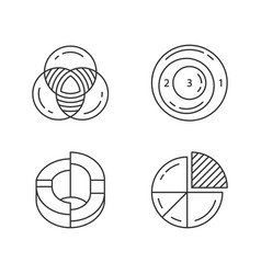 diagrams linear icons set data graphic vector image