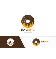 Donut logo combination doughnut and cake vector