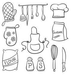 Doodle of kitchen set style collection vector