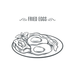 Eggs with bacon and a slice of bread vector