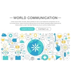 Elegant thin flat line World communication vector