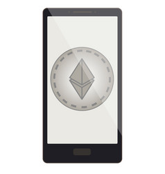 Ethereum coin on a phone screen vector