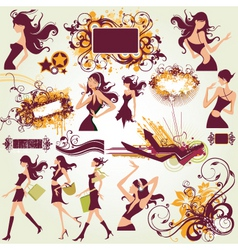 fashion model illustration elements vector image