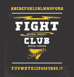 Fight club hand crafted typeface design vector