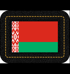 Flag of belarus icon on black leather vector