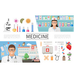 flat medicine elements set vector image