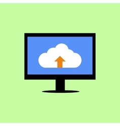 Flat style computer with cloud uploading vector image