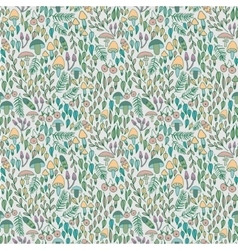 forest seamless pattern mushrooms berries vector image