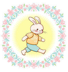 funny cartoon bunny vector image