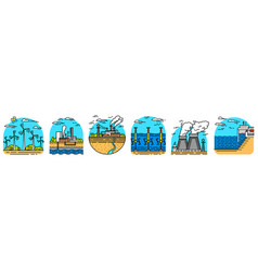 generating energy power plants icons industrial vector image